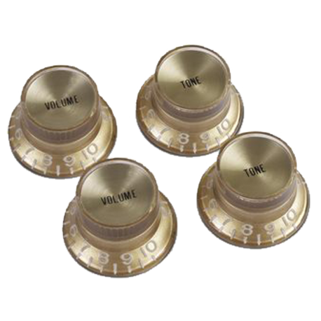 GIBSON PRMK-030 LOT DE 4 BOUTONS TOP HAT GOLD