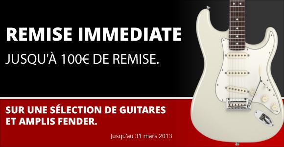Réduction spéciale Fender sur une sélection de guitare jusqu'à 100€ de remise
